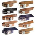 Mens Rotating Buckle Leather 35mm Textured Animal Skin Office Wear Casual Belts