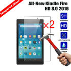 2XGenuine Tempered Glass Screen Protector cover For Kindle fire 7 HD 8 2017 2018