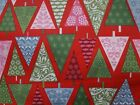 Cotton Fabric Festive Pattern Christmas Trees T Trees Red Green 100% Cotton