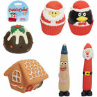 Vinyl Latex Christmas Pudding Mr Claus Parsnip Squeaky Gingerbread Dog Toys Ball