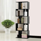 Black 5 Tier Bookcase Home Office S Shape Storage Display Wood Bookshelf Shelves