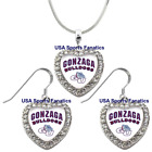 Gonzaga Bulldogs 925 Necklace / Earrings or Set Team Heart With Rhinestones