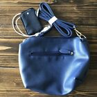 Crossbody Purse With Built In Iphone Charger Battery Pack Navy Blue Faux Leather