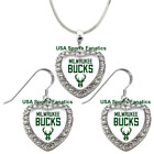 Milwaukee Bucks 925 Necklace / Earrings or Set Team Heart With Rhinestones on eBay