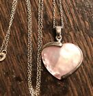 Pink Mother Of Pearl Heart 925 Sterling Silver Pendent Necklace