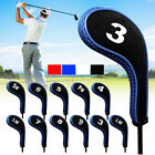 12Pcs/Set Golf Clubs Iron Protect Head Covers Headcovers w/ Zipper Long Neck
