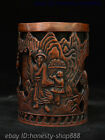 China Dynasty Red Bronze Tree People Old Man Tongzi Statue Brush Pot Pencil Vase
