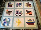 USED HAND MADE, APPLIQUED & HAND QUILTED BABY BLANKET / THROW BOAT TRAIN JACKNBX