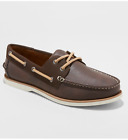 *Goodfellow & Co. Men's Medium Width Leather Rice Boat Shoes Loafers, Brown