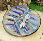 Neo Art Glass iridescent Lily pad paperweight sterling silver adornment K.Heaton