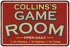 COLLINSS Game Room Personalized Sign Vintage Look Metal Wall 108120001085