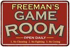 FREEMANS Game Room Personalized Sign Vintage Look Metal Wall 108120001146