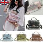 UK Womens Transparent PVC Clear Alphabet Jelly Bag Tote Casual Handbag Messenger