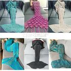 Women Warm Hand-crocheted Soft Super Warm Mermaid Tail Blanket Sofa Blanket US image