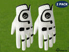 Men's Golf Gloves  2 Pack Leather Ball Marker Left Right Hand Lh Rh All Weather