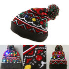 Unisex LED Light up Knit Cap Hat Christmas Beanie Adults Kids Xmas Gifts
