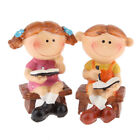 Lovely Couple Reading Bools Mini Ornament Fairy Garden Home DIY Decorations