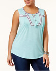 NEW Style & Co. Women's Plus Size Embroidered Peasant Top Choose Color & Size