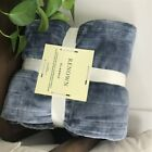Fleece Heated Throw Rug Snuggle Blanket Winter Bedding Blue Gray AG
