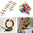 Colorful Wood Bird Parrot Swing Parakeet Cockatiel Conure Cage Cube Blocks Toys