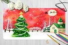 3d Red Starry Sky Christmas Eve Tree  9 Non-slip Office Desk Mouse Mat Game
