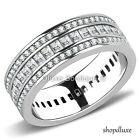 WOMEN'S EMERALD CUT AAA CZ STAINLESS STEEL ETERNITY FASHION WEDDING RING BAND