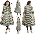 Women Indian Long Printed Cotton A-Line Anarkali Kurti Kurta Dress NK07 GREEN