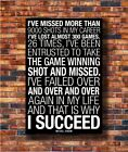 Hot Fabric Poster Print Why I Succeed - Michael Jordan Motivational Quotes Z863