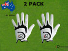 Men's Golf Gloves Cabretta Leather 2 Pack Left Right Handed S M L XL All Weather