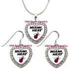 Miami Heat 925 Necklace / Earrings or Set Team Heart With Rhinestones on eBay