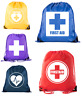 First Aid Backpack Drawstring Medical Bag for Emergencies or Epi Pen & Medicine
