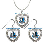 Dallas Mavericks 925 Necklace / Earrings or Set Team Heart With Rhinestones on eBay