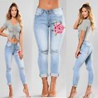 Woman Blue High waist Pencil Ripped Floral Hole Jeans Stretch Skinny Vintage Den