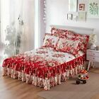 1 Pcs Graceful Quilted Thickened Bedspread Laced Fitted Sheet Two-Layer Bed Cove