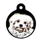 Cute Maltese Dog Pet ID Tag Personalized for Dog Collars