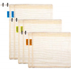 6 Pieces Reusable Produce Bags Natural Cotton Mesh Bags with Tare Weight on and