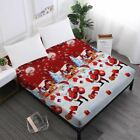 1 Pcs Home Decor Merry Christmas Bed Sheets Red Santa Claus Cartoon Fitted Sheet