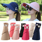 Women's Visor Hat Summer Golf Sun Beach Foldable Roll Up Wide Brim Cap Ladies