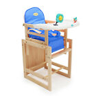2 Colours DIY Adjustable Wooden Infant Feeding Baby High Chair With Soft Cushion
