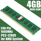 4GB DDR3 PC3-12800 1600 MHz 240 Pin DIMM Memory RAM 4G For Destop PC AMD