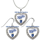 Kansas City Royals 925 Necklace / Earrings or Set Team Heart With Rhinestones on Ebay