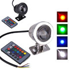 Waterproof DC 12V 10W RGB LED Underwater Lamp Pool Pond Light + Remote Control