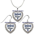 San Diego Padres 925 Necklace / Earrings or Set Team Heart With Rhinestones on Ebay