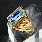 Elvis Presley TCB Concert Square Blue Crystal Iced Out Gold Plated 7-12 Men Ring