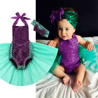 2PCS Newborn Baby Girl Mermaid Bodysuit Tulle Dress Romper Jumpsuit Outfit