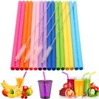 Reusable Silicone Drinking Straws Food Grade Straw with Cleaning Brushes Set US