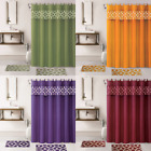 4PC SET BATHROOM BATH MAT RUG SHOWER CURTAIN FABRIC COVERED RINGS MIX COLORS