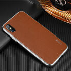Man Metal Bumper+Leather Back Shockproof Luxury Cool Case For iPhone XS XR 8/7