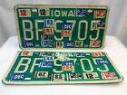 1979 80 81 82 83 84 85 Iowa Truck License Plates Pair BF 9705 Loaded w/ Stickers
