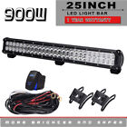 "25"" 900W Offroad Dual Row Spot Flood LED Light Bar 7D Optical Car ATV SUV RZR"